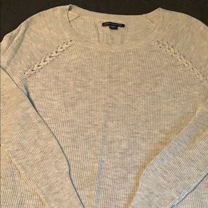 Cute braided detail light grey rubbed sweater